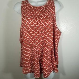 Ann Taylor Careerwear Orange Pattern Blouse